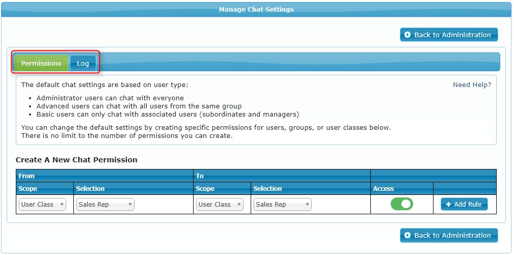 Manage Chat Settings and Permissions