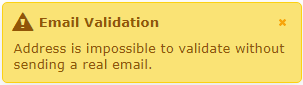 Address is impossible to validate without sending a real email