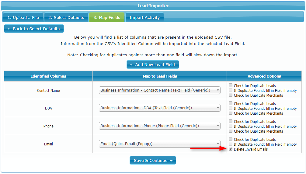 Email validation in the lead importer