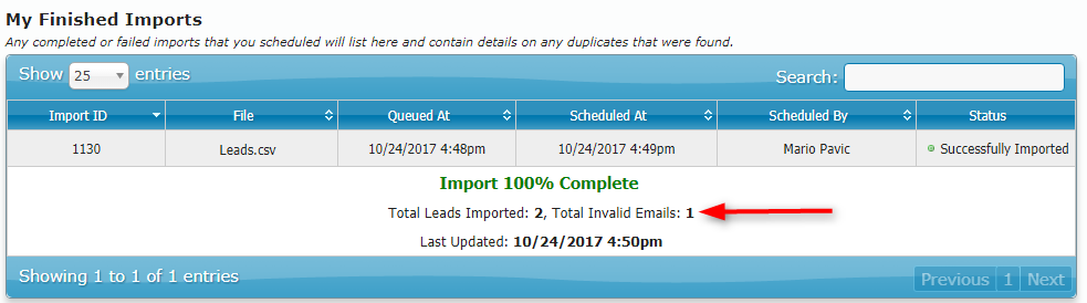 Email Validation Summary upon import