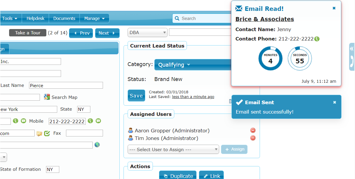 Email Tracking & Notifications