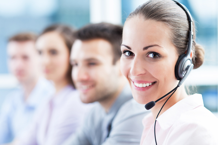 Call center team using CRM