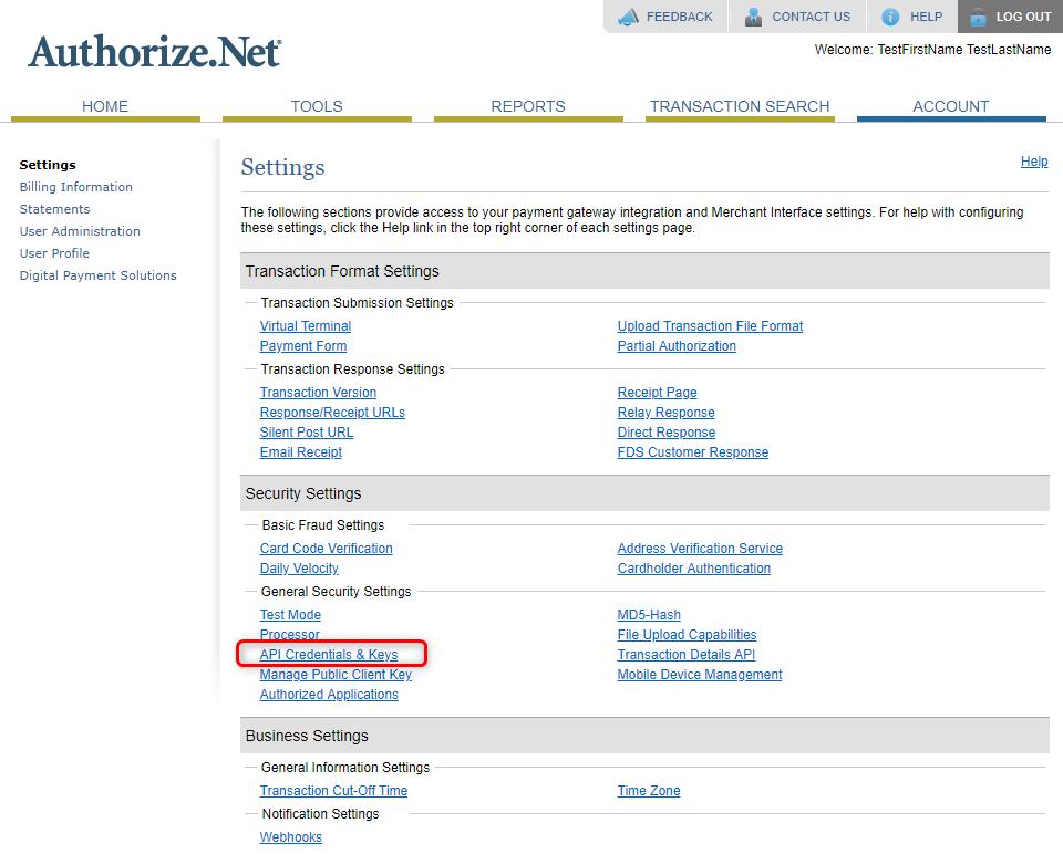 Authorize.net Settings