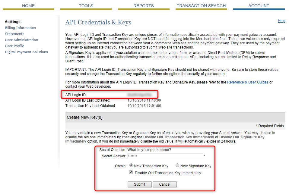 Authorize.Net API Credentials & Keys