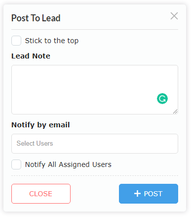 Add Note Popup
