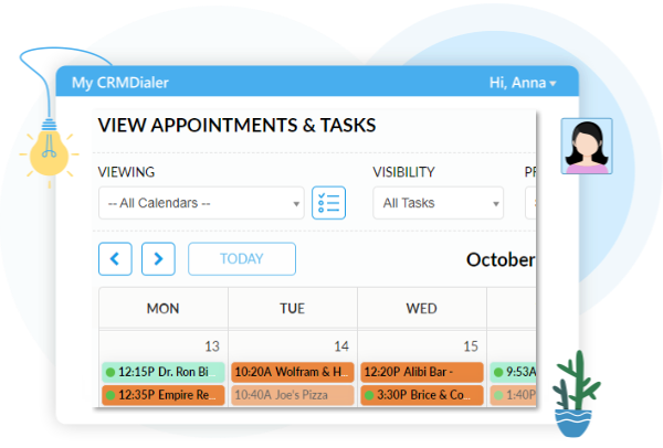 View Appointments and Tasks User Interface screen