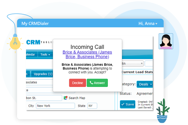 Incoming Phone Call CRM - Options to Answer or Decline
