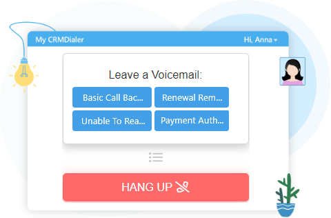 Voicemail Drop Screen with Options